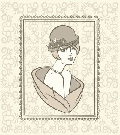 Vintage silhouette of girl on tapestry background.  photo