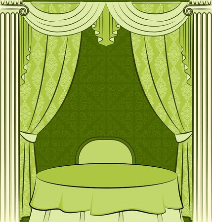 The vintage interior with curtain.  photo