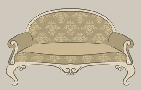 illustration sofa for vintage interior illustration