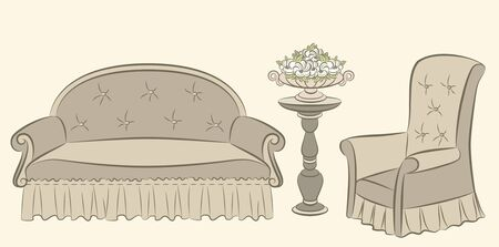illustration sofa and arm-chair for vintage interior illustration