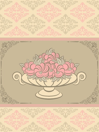 The vintage vase with flowers on tapestry background. Stock Photo - 10433573