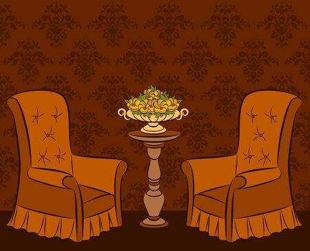 illustration arm-chair in vintage interior illustration