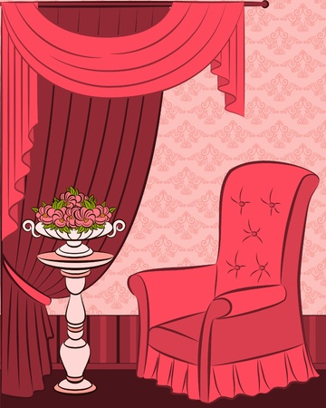 illustration arm-chair in vintage interior illustration