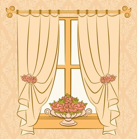 The vintage curtain with flowers. photo