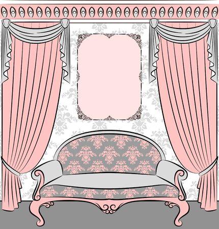 illustration sofa in vintage interior illustration