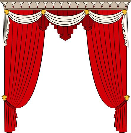 window treatments: The vintage curtain.  Stock Photo