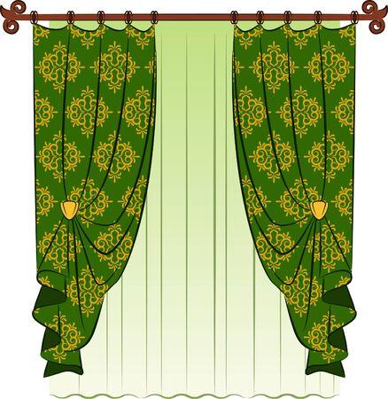 window treatments: The vintage curtain.  Stock Photo