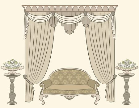 illustration sofa in vintage interior illustration