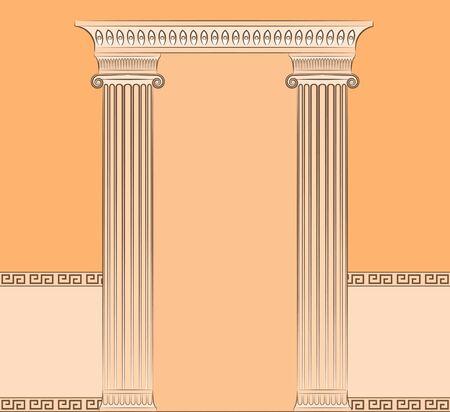 The vintage greek interior with columns. photo