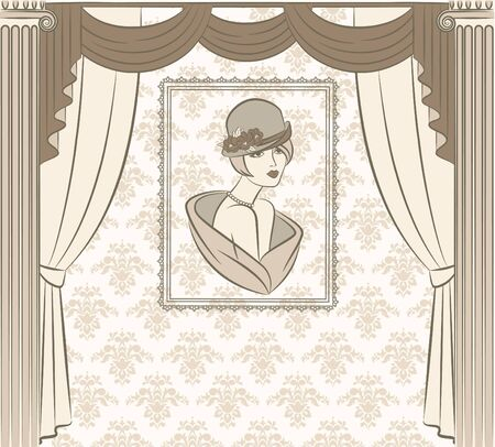 Vintage curtain with silhouette of girls. Stock Photo - 10610721
