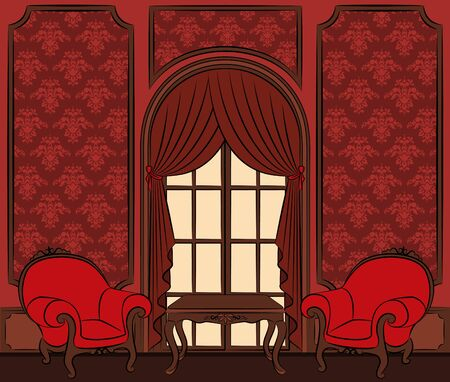 The vintage inter with curtain.  Stock Photo - 10610832