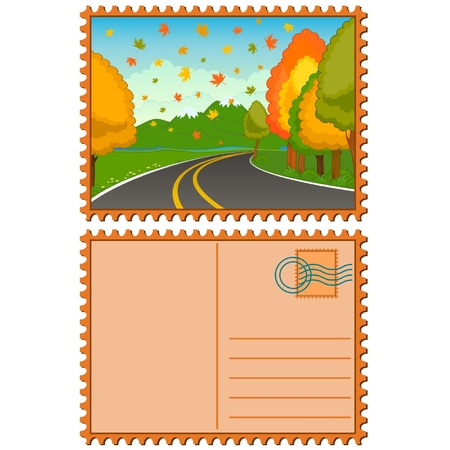 The autumn landscape with an asphalt road.  Stock Vector - 10610704