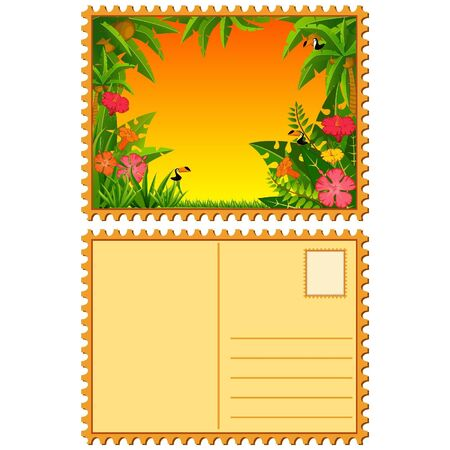 Small Island with tropical palms and parrots. Stock Vector - 10610708