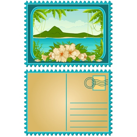 Beautiful Landscape with tropical plants. Blank Postcard Stock Vector - 10610713