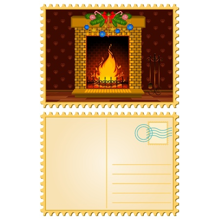 Cartoon stone fire-place with a christmas decorations. Blank Postcard Vector