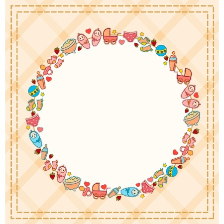 赤ちゃんのアイコンと美しい背景  イラスト・ベクター素材