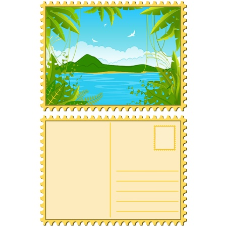 Beautiful Landscape with tropical plants. Blank Postcard Vector