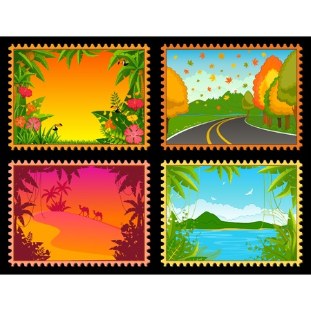 Beautiful Landscape with tropical plants. Blank Postcard set