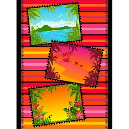 postcard: Beautiful Landscape with tropical plants. Blank Postcard set