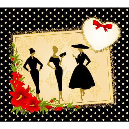Vintage silhouette of girls on black background. Vector
