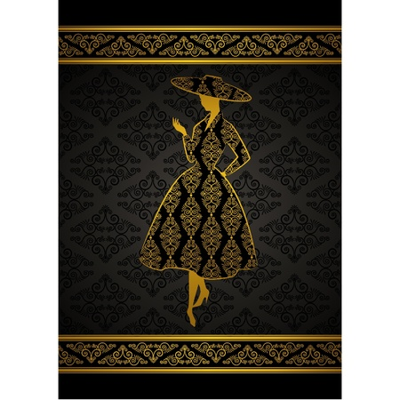 Vintage silhouette of girl on tapestry background.