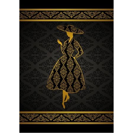 classic woman: Vintage silueta de chica sobre fondo de tapices.