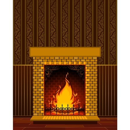 incendio casa: Chimenea de piedra de lujo con llama. Vectores