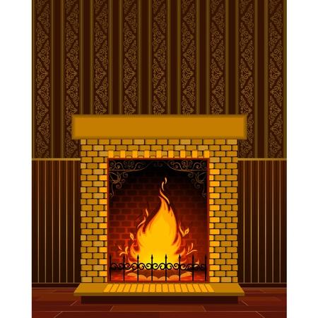 ohniště: Luxusní kamenný krb s ohněm.