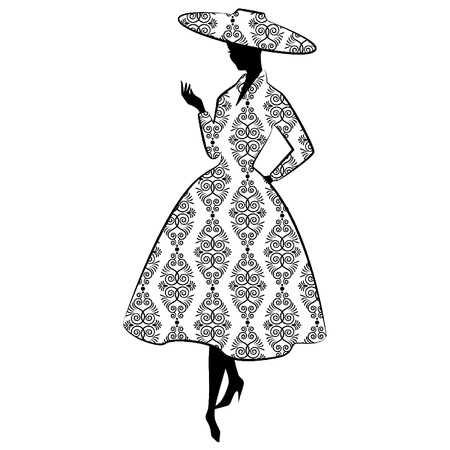 lace doily: Vintage silhouette of girl in hat