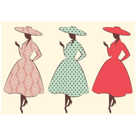 Vintage silhouette of girl in hat Vector