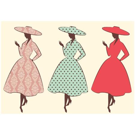 damas antiguas: Vintage silueta de niña con sombrero de Vectores
