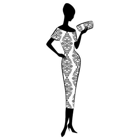 classic woman: Vintage silueta de una ni�a