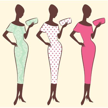 classic woman: Silueta de la vendimia de la muchacha
