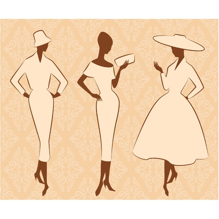rich people: Vintage silhouette of girl in hat