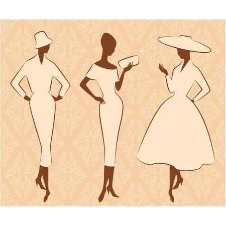 classic woman: Vintage silueta de la muchacha en el sombrero