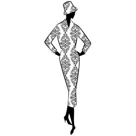 victorian people: Vintage silhouette of girl Illustration