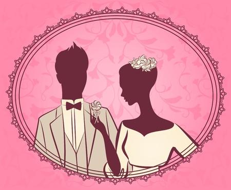 fiance: Illustration of beautiful bride and groom Stock Photo