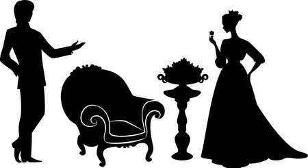arm chair: Vintage silhouette of girl with man. Stock Photo