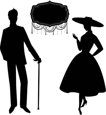 Vintage silhouette of girl with man. photo