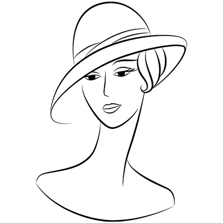 classic woman: Vintage fashion girl in hat. Illustration