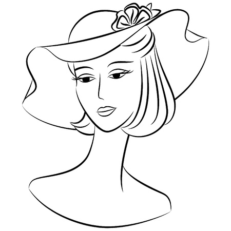 Vintage fashion girl in hat. Stock Vector - 10728061