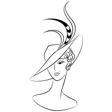 classic woman: Chica de moda vintage en sombrero. Vectores