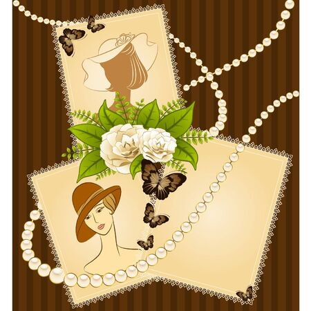 Vintage fashion background with flowers and girls