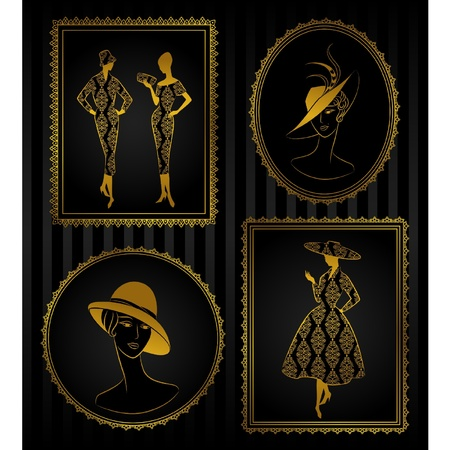 rich girl: Vintage silhouette of girl on tapestry background.