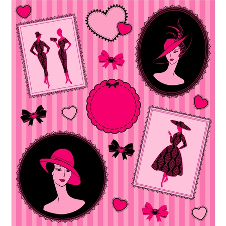 Vintage background with silhouette of girl in hat. Vector