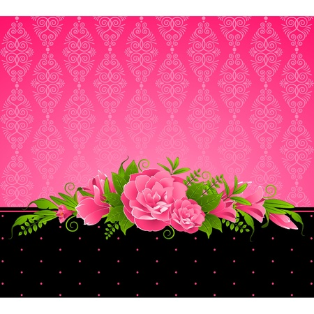 Vintage background with pink flowers. Vector