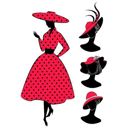 verschnörkelt: Jahrgang Silhouette des Mädchens Illustration