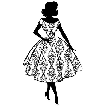 50s fashion: Vintage silhouette of girl Illustration