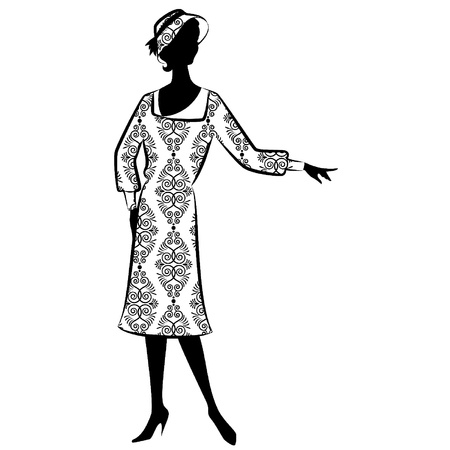 rich people: Vintage silhouette of girl Illustration