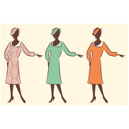 rich girl: Vintage silhouette of girl Illustration